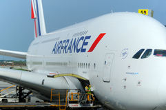 Air France A380. MONTREAL - CANADA MAY 25: Air France A380 a the Montreal's airport in preparation for takeoff on May 25 2012, Montreal, Canada. A380 is the Royalty Free Stock Photo