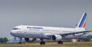 Air france. Plane in Amsterdam Schiphol Airport Stock Photo
