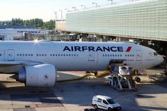 Air France plane under preparation for next journey. royalty free stock photos
