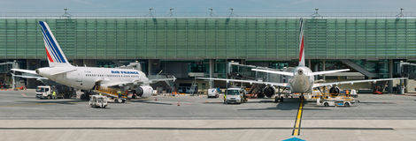 Air France planes on airport. Panorama. Royalty Free Stock Photography