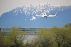 Air France que chega em Vancôver, Canadá Imagem de Stock
