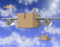 Air freight. Brown cardboard boxes with airplane wings flying on the sky Stock Image