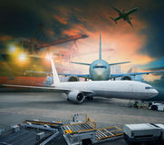 Air freight and cargo plane loading  in logistic  airport use for shipping and logistic industries. Air freight and cargo  plane loading  in logistic  airport Stock Image