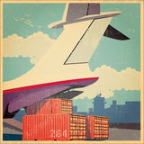 Air freighter old poster. Vector illustration on the theme of air cargo. Plane at the time of loading of containers on its board. Vector stylized old poster Royalty Free Stock Photos