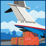 Air freighter. Vector illustration on the theme of air cargo. Loading of containers on board the cargo plane Royalty Free Stock Photos