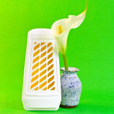 Air freshener. A closeup of a WC air freshener and a lily in a vase Stock Images