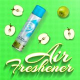 Air freshener with green apples.Vector 3d illustration. Air freshener with green apples. Realistic packaging template design mockup on green background. Vector Stock Photography