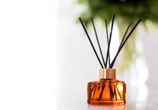 Home fragrance bottle, european luxury house decor and interior design details. Air freshener, reed diffuser and aromatherapy concept - Home fragrance bottle stock photography