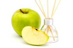 Air freshener sticks with a green apple isolated Royalty Free Stock Image