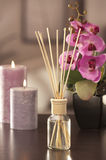 Air freshener sticks at home with flowers and ou of focus backgr Stock Photo