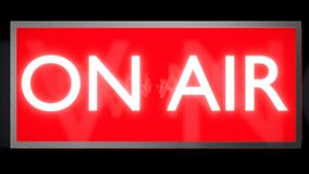 ON AIR glowing red and white sign. 3D render. Royalty Free Stock Photo