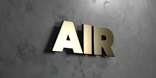 Air - Gold sign mounted on glossy marble wall  - 3D rendered royalty free stock illustration Stock Photo
