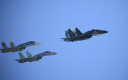 Air group in sky. Fighters stock photography