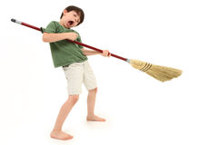 Air Guitar with Broom Royalty Free Stock Photos