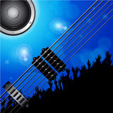 Air guitar and crowd background Royalty Free Stock Images