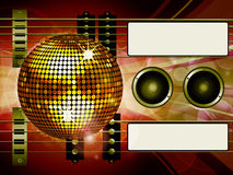Air guitar and disco ball background with labels Stock Photography