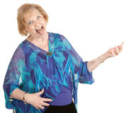Air Guitar Grandmother Royalty Free Stock Photography