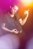 Air Guitar man Fotografering för Bildbyråer