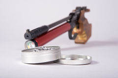 Air gun with box and pellets Royalty Free Stock Photo