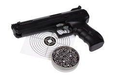 Air gun with gun-shield and pellets in box Royalty Free Stock Image