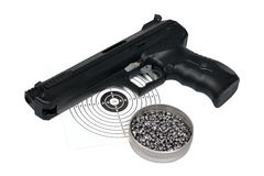 Air gun with gun-shield and pellets in box Royalty Free Stock Photography