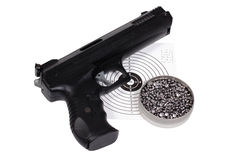 Air gun with gun-shield and pellets in box Stock Image