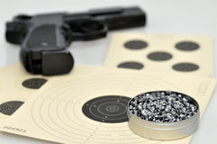 Air gun pellets. Air gun, targets and pellets Royalty Free Stock Photography