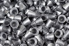 Air gun pellets. Closeup of air gun pellets with pointed head for training shooting Stock Photo