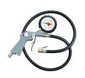 Air gun with pressure gauge. And connection hose to pump tires on a white background Royalty Free Stock Image