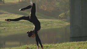 Air gymnastics woman performs acrobatics trick on aerial hoop. Flexible brunette stock video