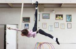 Air gymnasts training Royalty Free Stock Photo