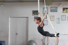 Air gymnasts training Stock Images
