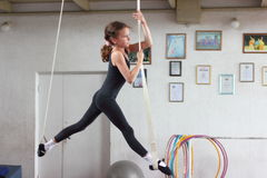 Air gymnasts training Stock Photo