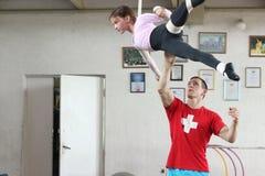 Air gymnasts training Stock Photo