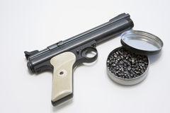 Air hand gun pellets. Picture of air hand gun with pellets Stock Image