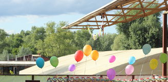 Air helium balloons on birthday Stock Photo