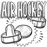 Air hockey sketch. Doodle style air hockey sports illustration. Includes text, pucks, and paddles Stock Photography