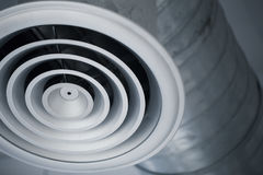 Air hole grill of interior air duct industry. Closeup air hole grill of interior air duct of cooling air conditioners metal pipe in the building Stock Image