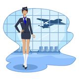 Air Hostess. Illustration of air hostess in airport lounge with flying airplane Royalty Free Stock Photo