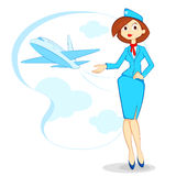 Air Hostess. Vector illustration of air hostess with airplane in backdrop Royalty Free Stock Images