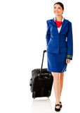 Air hostess with bag Royalty Free Stock Image