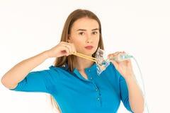Air hostess in blue uniform. Stock Image
