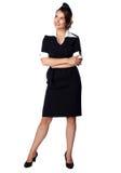 Air hostess in blue uniform. Stock Photography
