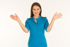 Air hostess in blue uniform. Stock Photos