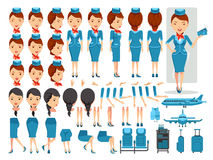 Air hostess. Character creation set.Icons with different types of faces and hair style, emotions,front,rear,side view of female person.Moving arms,legs.Vector Stock Photo