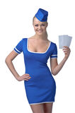 Air hostess holding two tickets to the flight Royalty Free Stock Images