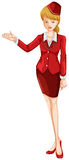 An air hostess. Illustration of an air hostess on a white background Royalty Free Stock Photography