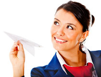 Air hostess with a paper airplane Stock Photography