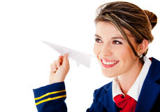 Air hostess with a paper airplane Stock Images