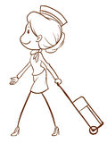 An air hostess. A plain drawing of an air hostess on a white background Royalty Free Stock Photo